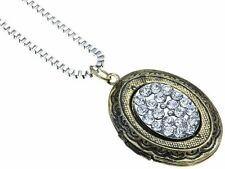 New Vintage Style Oval Bronze Tone Crystal Locket Pendant Necklace