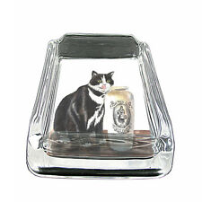 "Vintage Cat D20 Glass Ashtray 4""x3"" Old Fashioned Classic Retro Image Cute Funny"