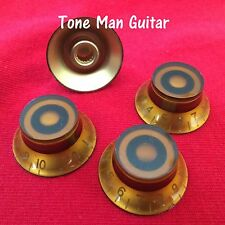 4x Amber Top Hat Bell Knobs - Fits Course 6mm Dia Potentiometers - LP and others