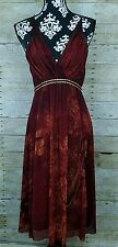 Vivienne Tam Red Orange Floral Dress Empire Waist Open Back Nylon Oriental Small