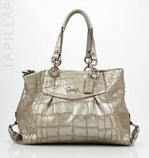 COACH F20345 Ashley Croc Embossed silver Leather Shoulder bag Purse handbag