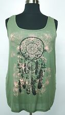 MAURICES WOMEN'S PLUS SIZE OLIVE GREEN BLACK GRAPHIC SLEEVELESS SOFT TOP Sz 2 2X