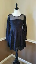 NWT Modcloth $90 Kling M Black Lace Pleated Dress Long Sleeves Merry Way Retro