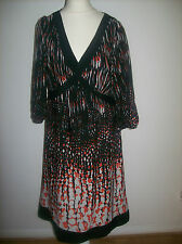 MONSOON BLACK WITH RED AND WHITE PATTERN  MIDI DRESS SIZE UK 14