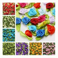 Flower wholesale 50/100PCS Rose Wedding Satin Ribbon Leaves wedding DIY  craft