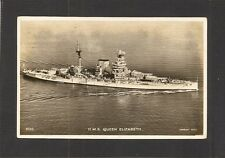 REAL - PHOTO POSTCARD:  BRITISH NAVY BATTLESHIP - HMS QUEEN ELIZABETH - Mailed