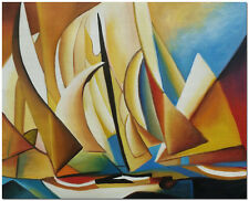 Sailing By Pablo Picasso - Hand Painted Abstract Boat Oil Painting On Canvas