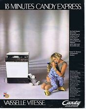 Publicité Advertising 016 1985 Candy lave-vaiselle vitesse