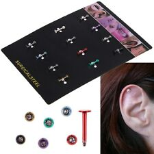12pcs Labret Lip Bar Monroe Tragus Stud Helix Nose Lip Stud Ring Gem Balls