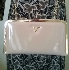BNWT Versace 1969 beige patent leather & gold clutch/shoulder bag