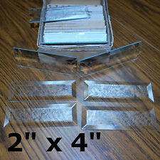 (10 pack) 2 x 4 inch Rectangle Bevel GLUE CHIP ETCHED Clear Glass Bevels