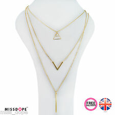 NEW Triangle Gold Multi Three Layered Necklace Chain Pendant Ladies Womens UK
