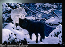 BLACK FRAMED BLACK AND WHITE WOLF - 3D MOVING PICTURE 400mm X 300mm (NEW)