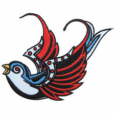 Tattoo Left Bird Swallow Swiftlet Dove Rock Biker Hippie Iron-On Patches #A034