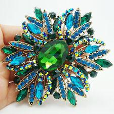 2014 New Elegant Flower Gold-plated Large Brooch Pin Green Rhinestone Crystal