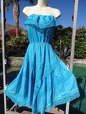 Vintage 70s dress Mexican lace turquoise sundress strapless XS/S handkerchief