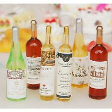 Set of 6Pcs Miniature Colorful Wine Bottles for Dollhouse 1:12 Scale