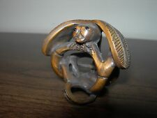 NETSUKE DRAGONFLY FIGURINE BOXWOOD JAPANESE HANDCARVED HANDMADE CARVING SIGNED