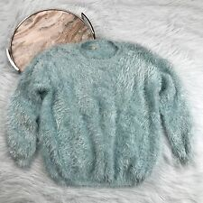 Raga Women's Small Baby Blue Fuzzy Pullover Sweater Top 90s Clueless