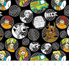 Scooby Doo and the Gang - licensed fabric in Black  - 1 yard