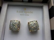 Kate Spade MULTI sparkles OPAL AURORA BOREALIS GOLD cushion stud Earrings NWT