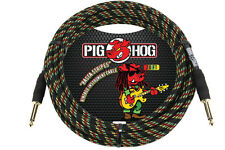 """Pig Hog Instrument Cable 20ft Rasta Stripe Gold plated 1/4"""" guitar cable PCH20RS"""