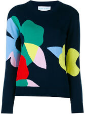 $575.00 Mira Mikati Women's Blue Floral Intarsia Sweater Jumper SZ 38 US 6