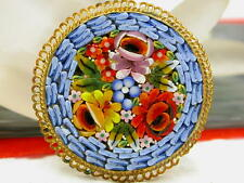 Vintage Made In Italy Micro Mosaic Flower filigree frame Brooch Pin