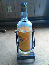 VINTAGE WHITE HORSE SCOTCH WHISKEY DISPLAY 1 GALLON GLASS BOTTLE & CRADLE