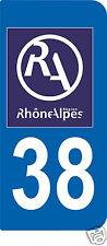 2 STICKERS RA 38 style PLAQUE D'IMMATRICULATION Département Région Rhône Alpes