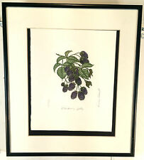"""Hand Painted, signed etching """"Blackberry Jelly"""" by Ms. Barbie Tidwell"""