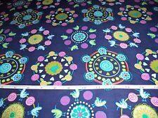 DARK BLUE WITH BIRDS HEARTS RETRO FABRIC - BY THE YARD - 7+ YARDS