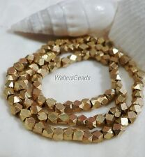 Bali Nugget Beads Matte Gold Brush Plated Solid Brass  Beads Faceted 3.5 MM