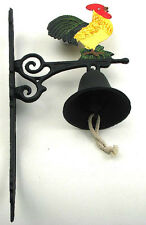 Cast Iron Wall Mount Painted Rooster Bell Indoor or Outdoor