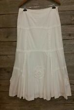 PER UNA size 10/12 long modest white skirt! Cotton~fully lined~Heirloom Quality