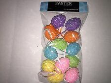 12 Easter Spring Mini Egg Ornaments Pink Yellow Blue Green Purple Sequins