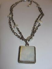 BEAUTIFUL STERLING SILVER MOTHER OF PEARL LARGE PENDANT NECKLACE