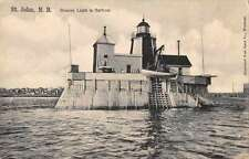 St John New Brunswick Canada view of beacon light in harbour antique pc Z18065