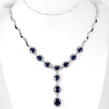 Sterling Silver 925 Genuine Natural Deep Blue Sapphire Necklace 17.5-19.5 Inch