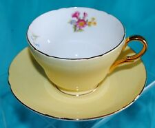GORGEOUS VTG SHELLEY ENGLAND TEA CUP SAUCER SET YELLOW ROSES GOLD