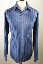 "Classic men's Lacoste teal blue/purple striped long sleeved shirt XL 48"" lac 44"