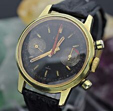 Vintage ELGIN 329 Chronograph Valjoux 7733 Gold Tone Black Dial Mens Sport Watch