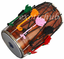 PUNJABI BHANGRA DHOL DRUMS~DARK SHEESHAM WOOD~PLAYING STICK~DJ~GREAT SOUND