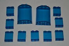 LEGO lot trans dark blue window 6259 Cylinder Half 2x4x4 4864 1x2x2 panel ADEq
