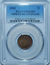 1898 Pcgs Ms63Bn Fs-402 (Fs-011.66) S-5 Mpd Misplaced Date Indian Cent