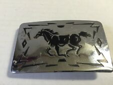 Chamber's Belt Company Mustang Horse Southwest Silver Belt Buckle Made in USA