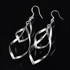 925 Silver Plated Double Twist Drop/Dangle Hook Earrings Ladies Girls Gift Bag