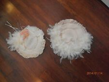 2 Old Fashioned Spring Hats with Feathers fits American Girl Doll Dress Up