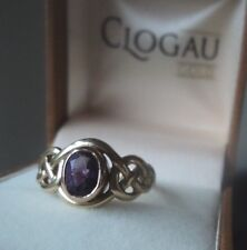 Clogau Welsh 9ct Yellow & Rose Gold Celtic Amethyst Ring h/m 2000  size M / N