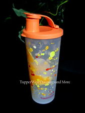 TUPPERWARE NEW 16 oz TUMBLER Jackson Pollock Orange Splatter Flip Top Seal